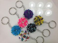 DIY Duct Tape Flower Keychains | 101 Duct Tape Crafts please follow us @ http://www.pinterest.com/ducktapesale/