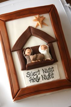Christmas Nativity Cake with manger scene - actually a great idea to frame a nativity scene too - thought this was a framed pic.