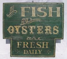 Antique Painted Fish and Oysters Sign Trade Sign Restaurant Kitchen