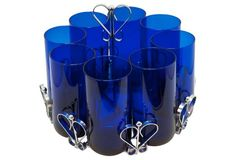Cobalt Blue Glasses w/ Caddy, 9 Pcs