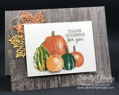 The pumpkins and gourds are so realistic you'll be trying to convince your friends and family it isn't a picture and that you truly did make your Stampin' Up! Gourd Goodness card! Kudos to the designer of the Gourd Goodness Stamp Set. Even though my girlfriend sat across from...