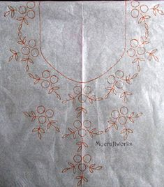 Paper Embroidery Patterns My craft works: Embroidery pattern 4 - French knots neck design Hand Embroidery Design Patterns, Kurti Embroidery Design, Hand Embroidery Videos, Embroidery Flowers Pattern, Paper Embroidery, Hand Embroidery Stitches, Embroidery Kits, Embroidery Online, Hand Work Embroidery