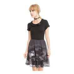 Harry Potter Hogwarts Landscape Skater Dress Hot Topic ($37) ❤ liked on Polyvore featuring dresses, star dress, star print dress, key hole dress, fitted skater dress and embroidery dress