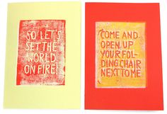 Linocut cards with songtexts