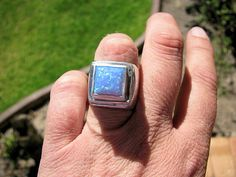 Huge chunky sterling silver opal ring by silverexclusive on Etsy, $139.00