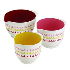 """Choose a solid group of three vibrant bowls to mix baking ingredients with the Cake Boss Countertop Accessories 3-Piece """"Icing"""" Melamine Mixing Bowl Set."""