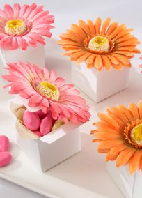"""An old proverb says """"Spring has come when you can put your foot on three daisies."""" Not only can daisies let us know when spring is here, the daisies on our gorgeous gerbera daisy favor boxes herald a wonderful event--perhaps a wedding. These beauties from Mother Nature's bouquet create a garden of gladness wherever they go! Features and facts: White favor box topped with a single silk gerbera daisy with a yellow center. Available in bright orange and hot pink. Pop-up box makes assembly easy…"""