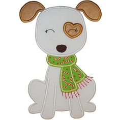 Scarf Puppy Applique  Personalized Items can be custom ordered at: www.trishaevansdesigns.com