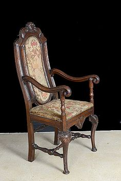 Century Italian Renaissance Armchair with Needlepoint Circa 1690 Antique Armoire, Antique French Furniture, Antique Armchairs, French Paintings, French Chairs, Italian Renaissance, Antique Lighting, 17th Century, French Antiques
