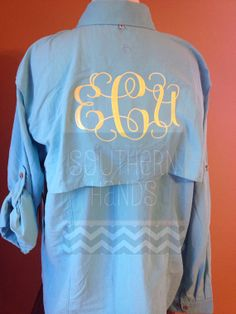 Monogrammed Ladies Fishing Button Up Shirt with Vent Back on Etsy, $42.00