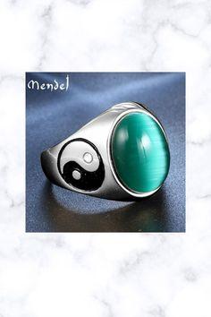 Yin Ying Yang Cat Eye Green Stone Ring