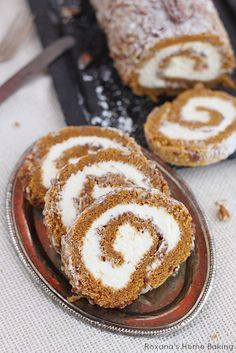 A classic fall dessert, pecan pumpkin roll cake with smooth cream cheese filling is a must at our Thanksgiving table.