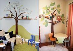 Idea para decorar una habitación infantil. Dibujar arboles en las paredes. | Mil ideas de decoración