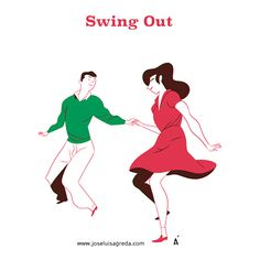 Some Lindy Hop moves. A collection of risograph postcards done for the Sevilla Swing Festival.Algunos pasos de Lindy Hop. Una colección de postales hechas para el Sevilla Swing Festival. Risografías realizadas por el taller El Último Mono de Sevilla.