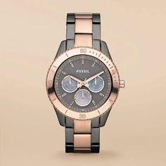 3c2dab0b6371 Fossil Es3030 Reloj Dama Gris Humo Dorado Envio Gratis en Mercado Libre  México