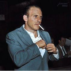 "Joseph Gallo (a. ""Crazy Joe"" and ""Joe the Blond"") at the Brooklyn Rackets Grand Jury Investigation October 1961 (colorized) Real Gangster, Mafia Gangster, Joe Gallo, Colombo Crime Family, Famous Serial Killers, Mafia Crime, 70s Inspired Fashion, Al Capone, Tough Guy"