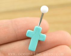 belly ring,cross Belly Button Rings, turquoise stone cross belly button jewelry,cross Navel Jewelry,friendship belly ring