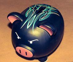 Custom Pinstriped Piggy Bank