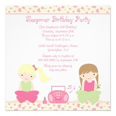 Cute girl's sleepover birthday party invitation.  $2.20