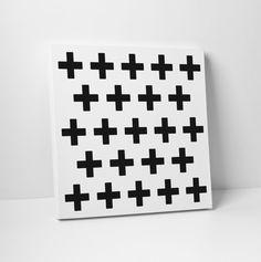 Canvas Art Swiss Cross Pattern Black and by TheStandardCanvas