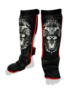 Tiger Hybrid Shin Guards by Tuff on Guruwan.com | TUFF Black Tiger Hybrid Shin GuardsSecure and keep from slipping with dual ultra-lock on backInstep protection with elastic foot wrap for extra security
