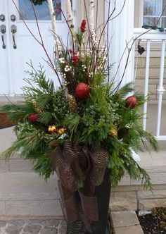 outside christmas planters - Yahoo Image Search Results Outdoor Christmas Planters, Christmas Urns, Christmas Front Doors, Outdoor Planters, Outdoor Christmas Decorations, Christmas Home, Christmas Holidays, Christmas Wreaths, Winter Planter