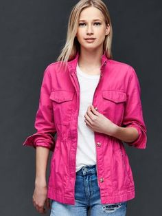 Gap Women Utility Jacket Size L Tall – Royal fuchsia