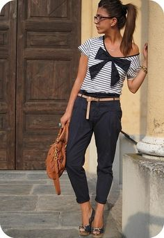 Travelling on a European vacation? Showcase your style with an exaggerated bow, nautical stripes, and camel colored accents.