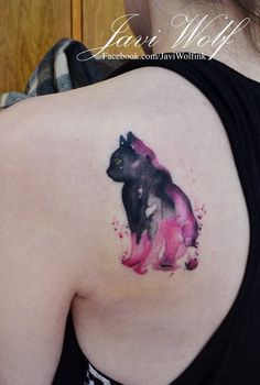 Watercolor cat tattoo. Tattooed by @javiwolfink www.javiwolf.com