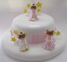 baptism cakes for girls with angel fondant