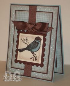 "love the blue and brown .. lovely **** Stamp set: SU ""Friends 24/7"", retired"