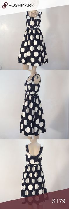 """NWT Donna Morgan Polkadot Fit & Flare✨🍄2 This GORGEOUS, joyful and outrageous Donna Morgan DOT dress will definitely make you smile!  Beautiful construction and detailing, including two linings--one with tulle edging to power up the structure of the skirt!  (See picture 6) The stitching is amazing, and every seam (as well as hem) is finished to perfection!  Impeccable new condition!  Runs a tiny bit large could fit size 4/6.  Bust 35.5"""" x waist 28"""" x hip 40"""":  41"""" long. Donna Morgan Dresses…"""