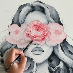 Rose blindfolded girl from my wall art print collection. Great for framing and room decor. art male Rose Blindfolded by Polina Bright Painting & Drawing, Watercolor Paintings, Drawing Tips, Drawing On Wall, Human Painting, Rose Paintings, Watercolor Peony, Watercolor Art Face, Original Paintings