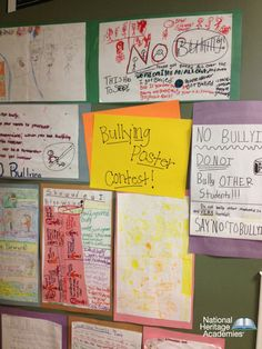 """Create awareness of bullying by having a contest on the best """"no bullying"""" pictures. Lansing Charter Academy created a bullying poster contest board.  http://go.nhaschools.com/pinterest"""