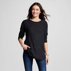 Women's Ribbed Asymmetrical Pullover Tunic - Onyx (Black) L - U-Knit