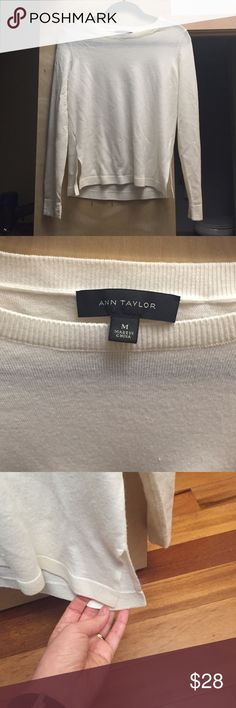 Ann Taylor cream crew neck merino wool sweater Ann Taylor merino wool sweater size medium. Worn a few times and in excellent condition from smoke free and pet free home. Ann Taylor Sweaters Crew & Scoop Necks