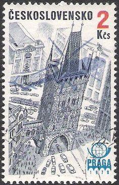Prague, Kruittoren Interesting Buildings, Fiji, Postage Stamps, Wildlife, Cities, Architecture, Cake, Places, Design