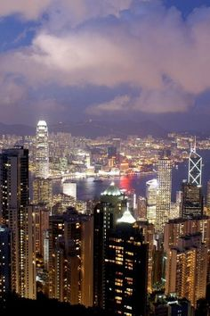 Hong Kong, Night view, China, City, Landscape