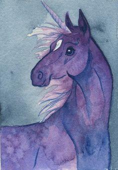 Unicorn Violet Portrait ACEO Giclee Print by Laura Garabedian via Etsy.