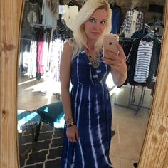 Stunning blue hues maxi dress! This is gorgeous! Flattering v neck empire cut- fully lined in a stunning side split maxi- the colors are divine! NikkiBikki Dresses Maxi