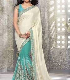 Buy Off white and green embroidered satin saree with blouse party-wear-saree online