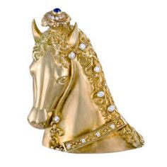 Venetian Horse Gold Diamonds Sapphire Brooch Pin  USA  Circa 1990's