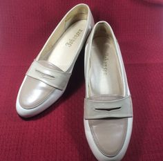 Johansen Shoes Womens Loafer Low Heels Slip-on Bone and Taupe USA #JohansenShoes #LoafersMoccasins #Casual