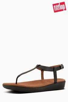 177fb3812286f FitFlop™ Black Leather Tia Toe Post Sandal