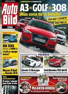 Revista #Autobild España 463. A3 vs Golf vs 308.