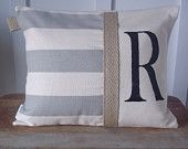 Custom Initial Pillow In Gray & Natural Stripe (12x16) Rustic,Farmhouse,Shabby,Cottage,Beach,Burlap,Monogram,Custom,Family,Wedding