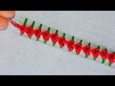 Embroidery Tutorials Simple Border line embroidery tutorial Hand Embroidery Videos, Hand Embroidery Tutorial, Simple Embroidery, Hand Embroidery Stitches, Silk Ribbon Embroidery, Crewel Embroidery, Embroidery For Beginners, Embroidery Techniques, Embroidery Patterns