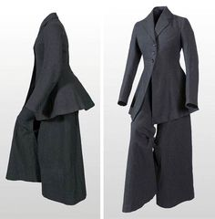 Cycling suit ca. 1895-1910. Black wool. Skirt split front and back. Museum of Rotterdam