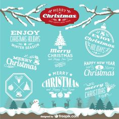 Vintage Christmas badges Free Vector