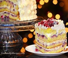 Cranberry Vanilla Cake with Whipped cream frosting